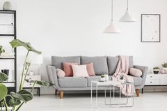 Pink cushions on grey settee in white living room interior with. Lamps and poster. Real photo concept stock photography