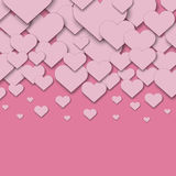 Pink cut paper hearts Stock Images
