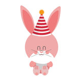 Pink and cute baby rabbit with hat party Royalty Free Stock Photos
