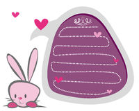 A pink cute bunny. And a bubble talk egg Stock Photos