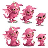 Pink cute dragon of different ages, growth, sits, stands. Fairy cartoon animal for animation, childrens illustrations Royalty Free Stock Image