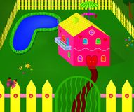 Pink Cute House. Cute girlish pink house in yard with pool. 3D cartoon  illustration Stock Image