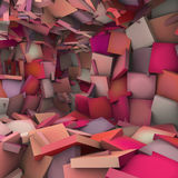 Pink 3d abstract shape interior fragmented Stock Photo