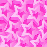 Pink 3D stars seamless patter on pink Stock Image