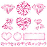 Pink daiamond. Set of decorative pink diamonds.  Vector illustration Royalty Free Stock Photos