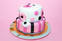 Pink daisies birthday cake royalty free stock photos