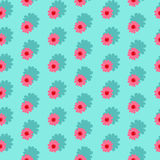 Pink daisies seamless pattern on a blue background. Daisy field. Flower chain Royalty Free Stock Photography