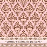 Pink damask pattern. Vector vintage seamless damask pattern Royalty Free Stock Image