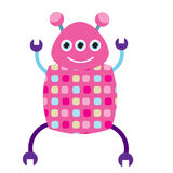 Pink dancing robot character. vector illustration, isolated design elements. Smiling three eyed android Stock Images