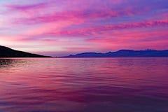 Pink Dawn Light Over Corinthian Gulf Bay royalty free stock photos
