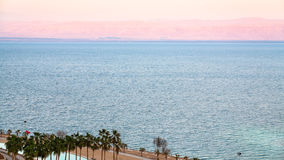 Pink dawn over Dead Sea in winter morning Royalty Free Stock Photos