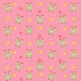 The pink dear pattern with candy and stars. Royalty Free Stock Photography