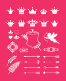 Pink decor with crowns Royalty Free Stock Images