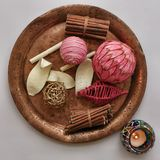 Pink decor. Many pink decorative stuff on ancient copper plate Stock Photo