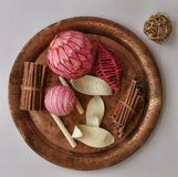 Pink decor. Many pink decorative stuff on ancient copper plate Royalty Free Stock Photos