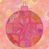 Pink decorative Christmas ball. Stock Photos