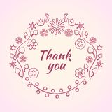 Pink decorative flower frame for text. Thank you phrase. Vector illustration stock illustration