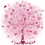 Pink decorative spring tree. Decorative pink spring tree with flowers, leaves and butterflies (vector EPS 10 Royalty Free Stock Images
