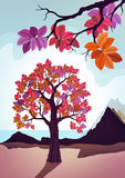 Pink decorative tree illustration. Pink decorative tree and see landscape Royalty Free Stock Photos