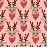 Pink deer seamless pattern.  Vector Illustration