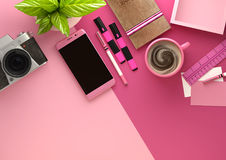 Pink Desktop Work Space Layout Stock Photo