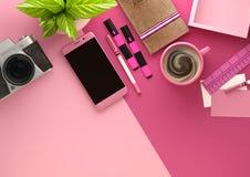 Pink Desktop Work Space Layout Stock Photo
