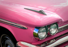 Pink desoto. Photo of vintage american pink desoto showing headlamp detail Stock Image