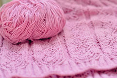 Pink detail of woven handcraft knitting Royalty Free Stock Photography