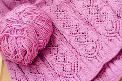 Pink detail of woven handicraft knitting sweater o Royalty Free Stock Images