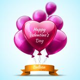 Pink detailed 3d balloons Valentine Day realistic Vector. Card Royalty Free Stock Images