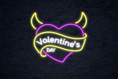 Pink devil heart `Valentine`s Day` with horns stock illustration