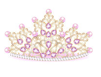 Pink diadem feminine crown with jewels. Illustration pink diadem feminine crown with jewels Stock Photography