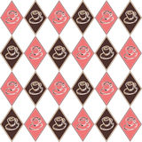 Pink diamond cup pattern. Seamless pink and brown diamond pattern with whimsical hand drawn cups stock illustration