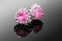 Pink diamond earrings Stock Photo