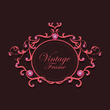 Pink diamond and gray background vintage frame vector Stock Image