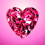 Pink Diamond Heart Stock Photography