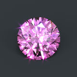 Pink diamond. Isolated pinky color diamond with round brilliant cut royalty free illustration