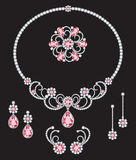 Pink diamond jewellery. A white and pink diamond necklace, three sets of similar design diamond earrings and a brooch Royalty Free Stock Images