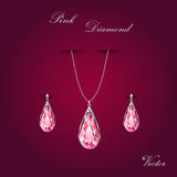 Pink Diamond  Jewelry Set. Pink diamond jewelry set on dark fuchsia background Royalty Free Stock Photography