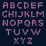Pink diamond letters alphabet on dark background. Royalty Free Stock Photos