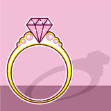 Pink Diamond Ring Stock Images