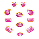 Pink Diamond Set Isolated Objects Royalty Free Stock Photos