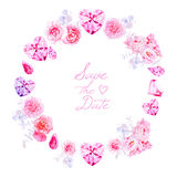 Pink diamonds, peonies and roses round vector frame Royalty Free Stock Photography