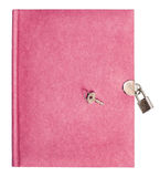 Pink diary book with lock and key Stock Photo