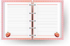 Pink diary with line and strawberry pattern Royalty Free Stock Photo