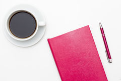 Free Pink Diary, Pen And A Cup Of Black Coffee On White. Royalty Free Stock Photography - 84040807