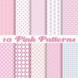 Pink different vector seamless patterns. 10 Pink different vector seamless patterns (with square swatches). Endless texture can be used for sweet romantic Royalty Free Stock Photography