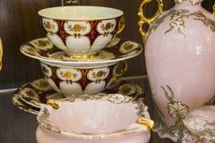 Pink dining tableware tea  set Stock Photo