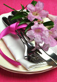 Pink dinner table setting for Easter or special occasion. Royalty Free Stock Photos