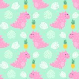 Pink dinosaur with pineapple and palm leaves seamless pattern on mint green background. Royalty Free Stock Photos